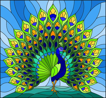 Illustration pour Illustration in stained glass style with colorful peacock on blue sky - image libre de droit