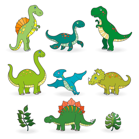 Ilustración de Set of funny cartoon dinosaurs isolated on white background - Imagen libre de derechos
