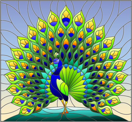 Illustration pour Illustration in stained glass style with colorful peacock on blue sky , background - image libre de droit