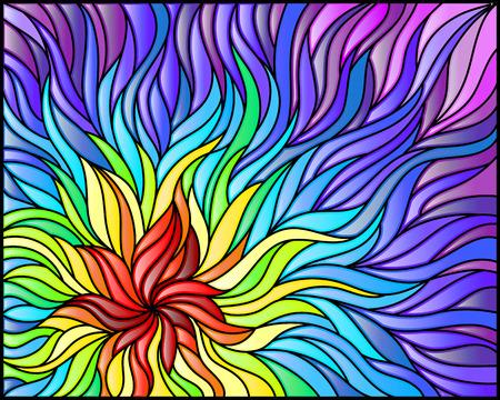 Ilustración de Abstract stained glass background , the colored elements arranged in rainbow spectrum - Imagen libre de derechos