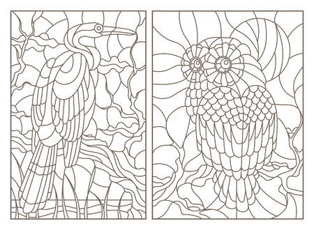 Illustration pour A set of contour illustrations of stained glass Windows with birds, an owl and a Heron on tree branches, dark contours on a white background - image libre de droit