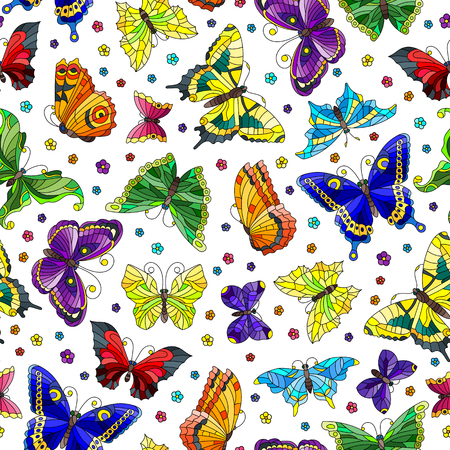 Illustration pour Seamless pattern with bright butterflies and flowers on white background - image libre de droit