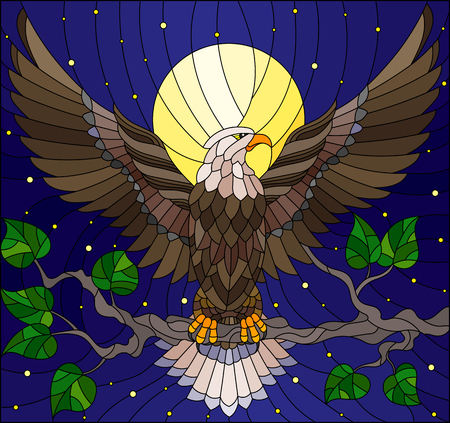 Illustration pour Illustration in stained glass style with fabulous eagle sitting on a tree branch against the starry sky and moon - image libre de droit