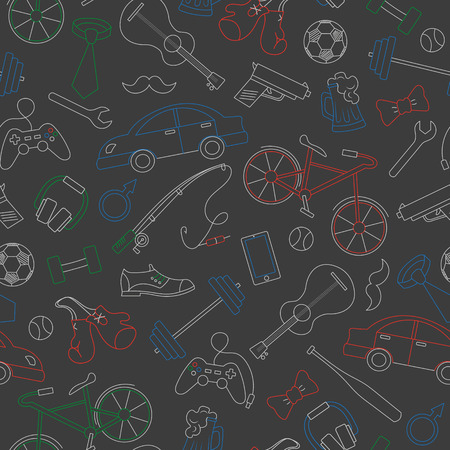 Illustration pour Seamless pattern on the theme of male Hobbies and habits, simple colored chalks on the dark school Board - image libre de droit