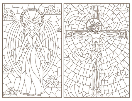 Illustration pour Set of contour illustrations of stained glass Windows on religious theme, Jesus Christ and angel, dark contours on white background - image libre de droit
