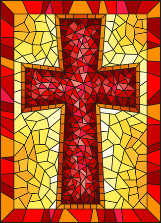 Illustration pour The illustration in stained glass style painting on religious themes, stained glass window in the shape of a red Christian cross , on a yellow background with  frame - image libre de droit
