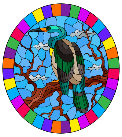 Illustration pour Illustration in stained glass style with a Heron bird sitting on a tree on a background of swamp and sky, oval image in bright frame - image libre de droit
