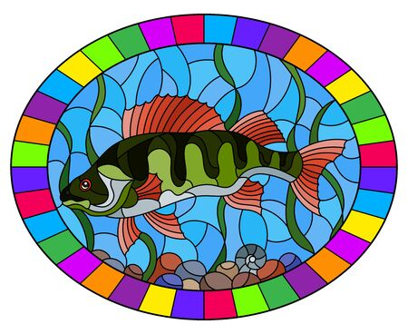 Illustration pour Illustration in stained glass style with a  fish  perch on the background of water and algae, oval image in bright frame - image libre de droit