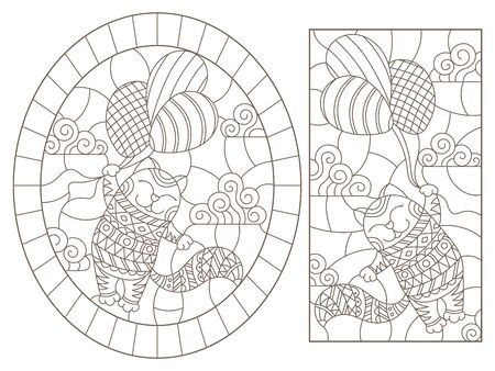 Illustration pour Set of contour illustrations with abstract cats,  dark contours on white background - image libre de droit
