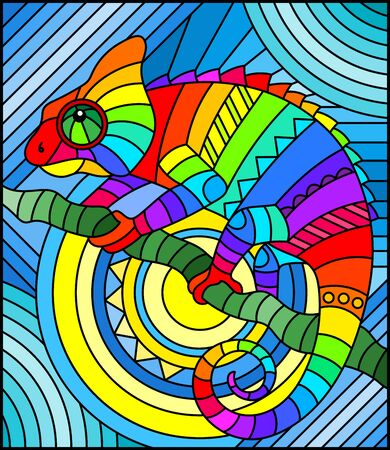 Illustration pour Illustration in stained glass style with abstract geometric rainbow chameleon - image libre de droit