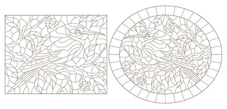Illustration pour Set of contour  illustrations of stained-glass windows with birds against branches of a tree and leaves  - image libre de droit