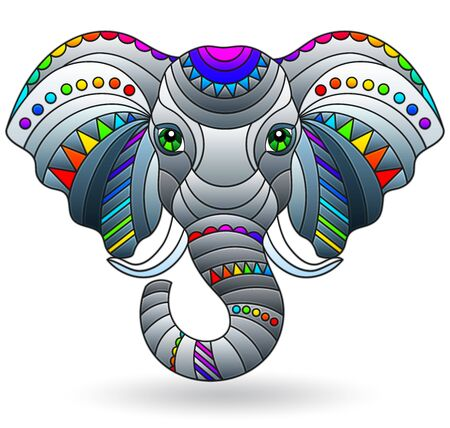 Illustration pour Illustration in stained glass style with an elephant's head, a  portrait of an animal isolated on a white background - image libre de droit