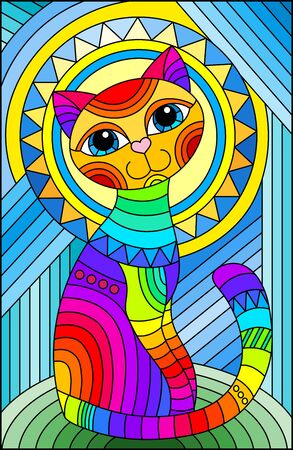 Illustration pour Illustration in stained glass style with a bright rainbow cat  on the background of an abstract geometric sky and sun, rectangular image - image libre de droit