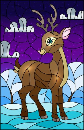 Illustration pour Illustration in stained glass style with a fawn on the background of winter  landscape  and cloudy sky - image libre de droit