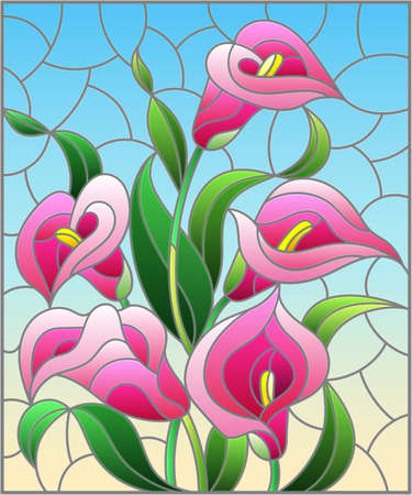 Illustration pour Illustration in stained glass style with a bouquet of pink Calla flowers on a blue background, rectangular image - image libre de droit