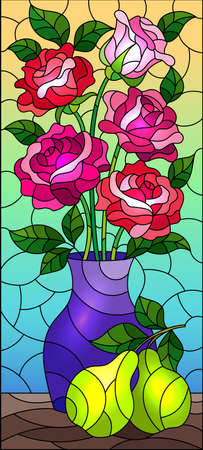 Illustration pour Illustration in stained glass style with floral still life, vase with a bouquet of pink roses and pears on a blue background - image libre de droit