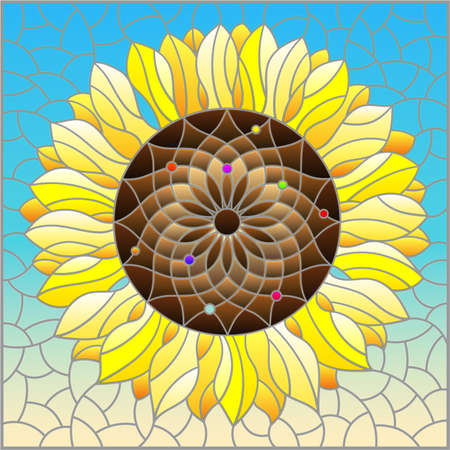 Illustration pour Illustration in stained glass style with sunflower flower on a blue sky background, rectangular image - image libre de droit