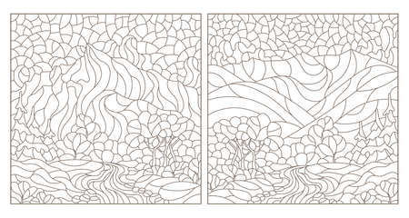 Illustration pour Set of contour illustrations in the style of stained glass with mountain landscapes, dark outlines on a white background - image libre de droit