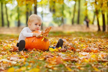 Photo for Little  boy with big orange pumpkin in hands sitting on the grass in autumn garden - Royalty Free Image