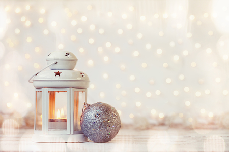 Photo for White lantern with candle and silver ball - Christmas decoration - Royalty Free Image