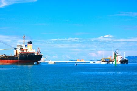 Photo for Panoramic view of Sabah Port with blue sky at Sepanggar, Kota Kinabalu, Sabah, Malaysia - Royalty Free Image