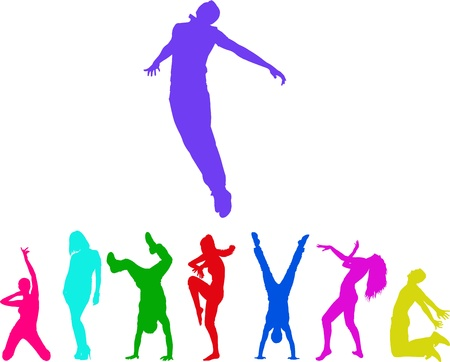 silhouettes of the people. Colorful moments of jumping and club dancing young adults.