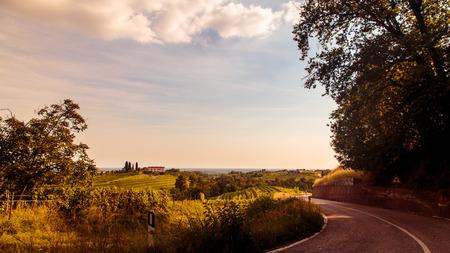Photo pour Sunset near the Abbey of Rosazzo, Friuli, Italy - image libre de droit