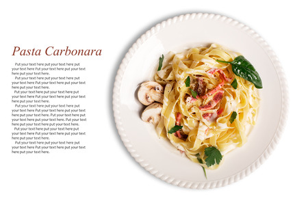 Pasta Carbonara with pancetta, mushrooms and sauce