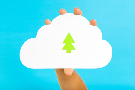 Green cloud tree on blue background