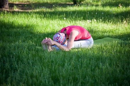 flexible young woman practicing yoga and gymnastics in the Park. Yoga in the Park, outdoors , womens health, Yoga woman. The concept of healthy lifestyle and recreation