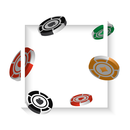 Casino chips isolated on white background, realistic isometric and 3d vector objects