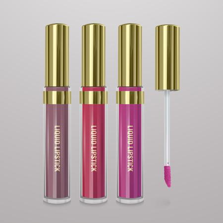 Illustration pour Set of realistic, liquid lipstick. 3d illustration, trendy cosmetic design for advertisement - image libre de droit