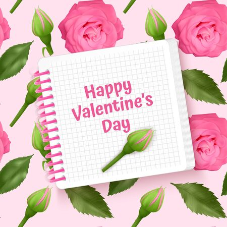 Illustration pour Greeting card Happy Valentine's Day, card with Seamless, endless background with bright pink roses and green leaves. Background for poster or banner. - image libre de droit