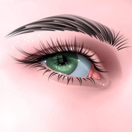 Ilustración de Beautiful green woman's eye, with long cilia, eye in realistic style, vector EPS 10 illustration - Imagen libre de derechos