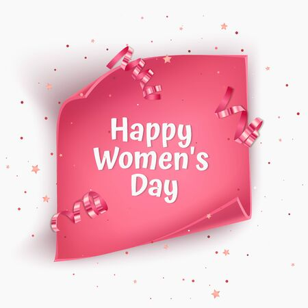 Illustration pour Greeting card for Women's day with pink Twisted paper. For advertising, Invitation card with place for text, Vector illustration - image libre de droit