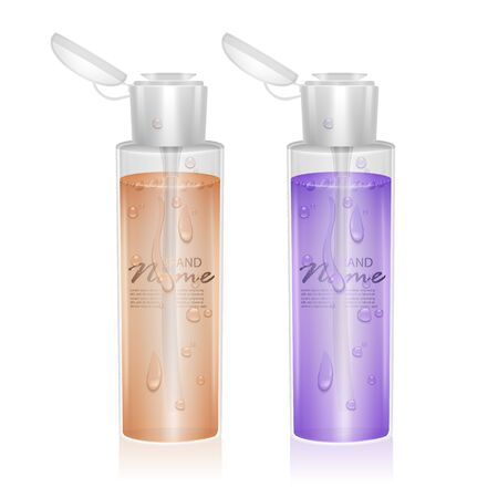 Illustration pour Set of Bottles for micellar water, with fluid of orange and purple colors, can be used like design for catalog or magazine. Cosmetic package - image libre de droit