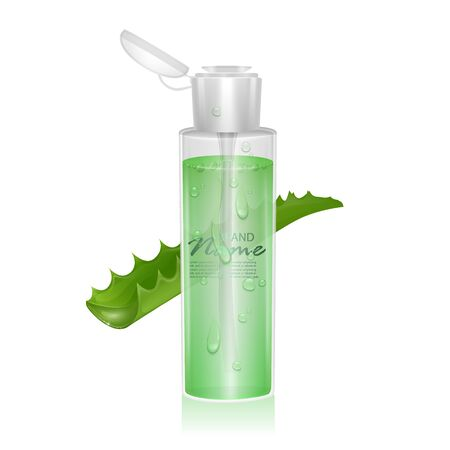 Illustration pour Realistic template for Cosmetic package. Moisturizing toner, micellar water with aloe vera extract, Vector EPS 10 format - image libre de droit