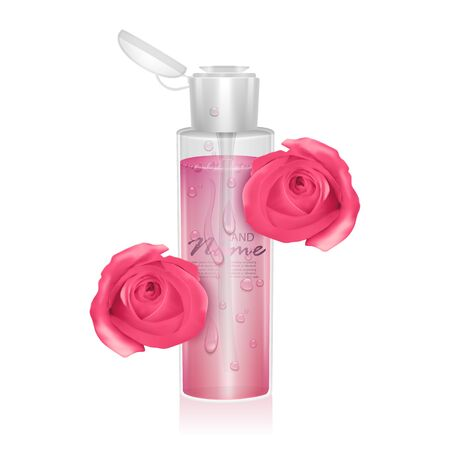 Illustration pour Template for design liquid packaging, design for catalog or magazine. Cosmetic package. Moisturizing toner, micellar water with rose extract Vector EPS 10 format - image libre de droit