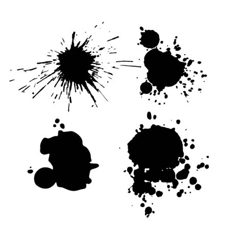Illustration for Ink blot collection isolated on white background, vector abstract art - Royalty Free Image