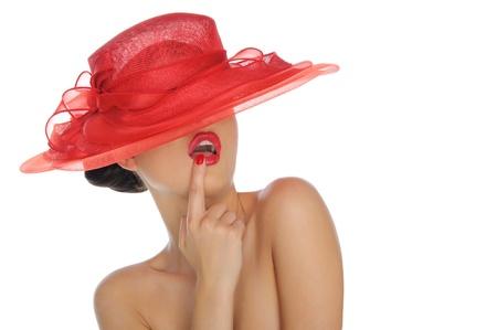 Foto de beautiful woman with red hat - Imagen libre de derechos
