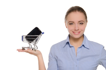 smartphone in shopping trolley on the women palm