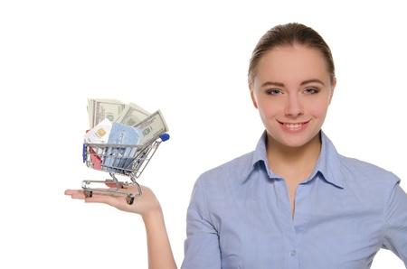 Woman with money and cards in shopping cart