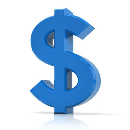 Photo for Blue dollar symbol. US dollar sign isolated on white background. - Royalty Free Image