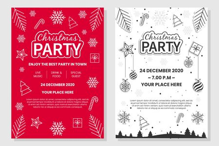 Illustration for Christmas Party Poster On Red and White Background - Royalty Free Image