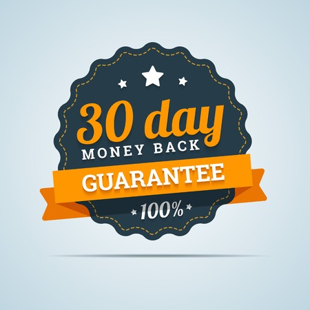 30 day money back badge. Vector illustration in flat style.