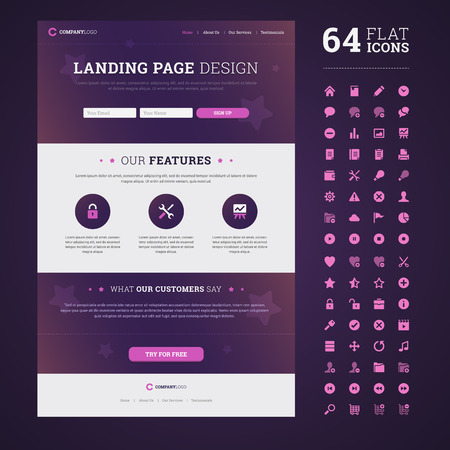 One page design landing page with set of 64 high quality flat icons.