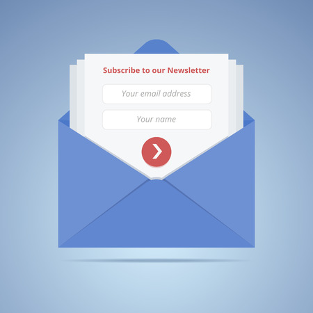 Blue envelope with subscription form in flat style for email marketing or website.