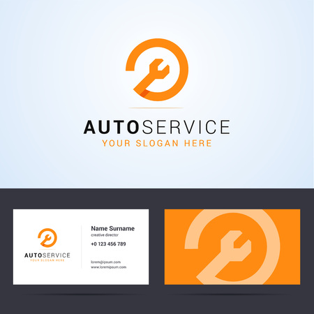 Ilustración de Logo and business card template, layout for auto service, repair service, system administrator, car service. Wrench orange sign, origami, overlapping style. Vector illustration. - Imagen libre de derechos