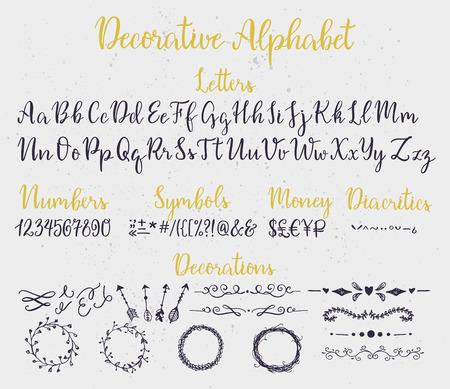Illustration pour Modern calligraphy decorative alphabet with numbers, symbols, diacritics and decoration elements. Ink splashes on background. - image libre de droit