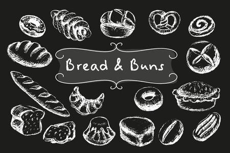 Vektor für Chalk bread and buns set. White illustrations on dark background. - Lizenzfreies Bild